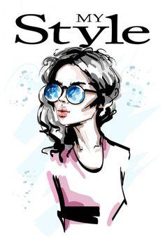 Красивая молодая женщина в солнечных очках. Стильная элегантная девушка. Женский портрет. Рисунок . — стоковая иллюстрация Betty Boop, Young Women, Poppies, How To Draw Hands, My Style, Drawings, Illustration, Prints, Anime