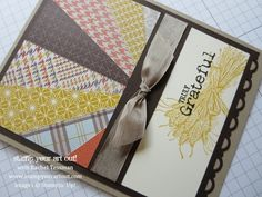 starburst of patterned papers in Fall colors . shaff of wheat stamped and then overstamped with sentiment . like this layout design . Stampin' Up! Card Making Tips, Card Making Tutorials, Card Making Techniques, Making Ideas, Fall Cards, Christmas Cards, Diy Christmas, Card Patterns, Design Patterns