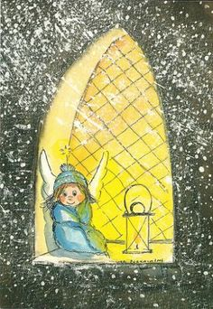 Postcrossing postcard from Finland Kawaii Illustration, Vintage Christmas Cards, Diy Christmas Gifts, Angel Pictures, Angels Among Us, Winter Pictures, Winter Wonder, Angel Art, Whimsical Art