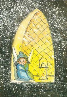 Postcrossing postcard from Finland Christmas Tale, Vintage Christmas Cards, Christmas Angels, Spiritual Paintings, Kawaii Illustration, Angel Pictures, Winter Pictures, Christmas Illustration, Angel Art