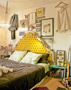 Yellow velvet tufted headboard for the eclectic bedroom with a twist
