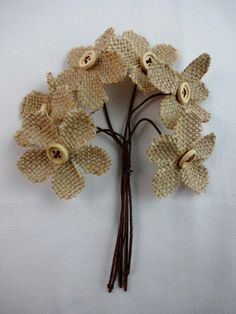 Burlap flowers with beige button centers and bendable stems, set of for gift embellishments, floral or rustic wedding crafts Burlap Lace, Burlap Flowers, Fabric Flowers, Paper Flowers, Rock Crafts, Diy Arts And Crafts, Crafts To Make, Diy Crafts, Burlap Crafts
