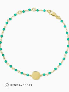 Dainty stones on a thin chain with a metallic pendant accent define the ever-so-stackable Davis 18k Gold Vermeil Delicate Beaded Bracelet in Green Onyx.