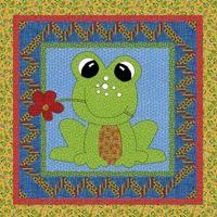 Free Patterns frog quilt - link broken - but cute applique