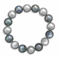 7 Inch Black and Silver Lacquered Shell Bead Stretch Bracelet - JewelryWeb JewelryWeb. $31.20