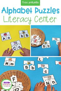 We are always hard at work learning the alphabet in Pre-K and Kindergarten! These free low prep ABC Puzzles are hands-on and engaging literacy activity to use in small groups, literacy centers, or for independent letter practice in the classroom all year long! Kindergarten Math Activities, Literacy Skills, Literacy Centers, Toddler Activities, Learning Activities, Letter Recognition Games, Letter A Crafts, Learning The Alphabet, Play To Learn