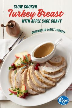 Looking for a new way to cook turkey? Try this slow cooker recipe from Kroger. Topped with a sweet-savory apple sage gravy, this moist, delicious turkey is sure to be a holiday hit. Slow Cooker Turkey, Cooking Turkey, Crock Pot Cooking, Cooking Kale, Thanksgiving Recipes, Holiday Recipes, Great Recipes, Holiday Meals, Thanksgiving Turkey