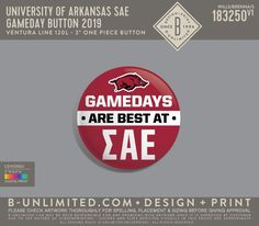 University of Arkansas Sigma Alpha Epsilon Gameday Button | Fraternity Event | Greek Event #sigmaalphaepsilon #sae #razorbacks