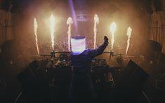 Download wallpapers 4k, DJ Marshmello, concert, DJ, superstars, night club, fire