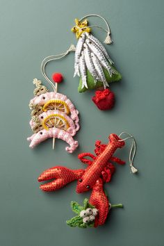 Over the past year I have been collaborating with American clothing retailer Anthropologie on a mini range of knitted and crocheted Christmas Ornaments. I am happy to say they are now available to buy on their website www.anthropologie.com or in any of their stores worlwide. Choose from a set of 3 wise king prawns, a sequined lobster clutching a crocheted sprig …