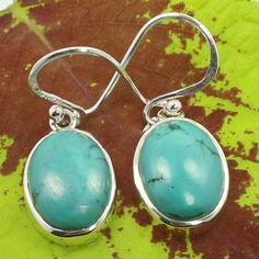 925 Sterling Silver Indian Jewelry Earrings Genuine TURQUOISE Gemstones Handmade #SunriseJewellers #DropDangle