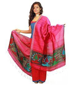Slice Of Bengal Pink Silk Floral Formal Stoles