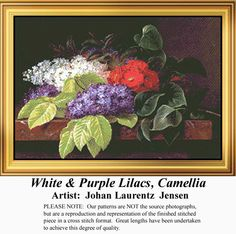 White & Purple Lilacs, Camellia, Flowers Counted Cross Stitch Pattern, Kit and E-Pattern Download #crossstitchonpinterest