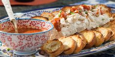 """Cream Cheese Crab Spread with Homemade Crostini (Best Girls' Night In) - Valerie Bertinelli, """"Valerie's Home Cooking"""" on the Food Network. Recipes Appetizers And Snacks, Appetizer Dips, Appetizers For Party, Seafood Recipes, Party Recipes, Yummy Appetizers, Tailgating Recipes, Savory Snacks, Seafood Dishes"""