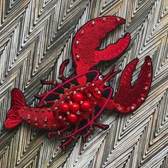Embroidered Brooch Red lobster