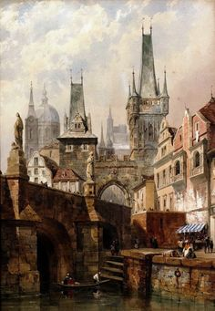 View The Charles Bridge, Prague by Thomas Shotter Boys on artnet. Browse upcoming and past auction lots by Thomas Shotter Boys. Fantasy City, Fantasy Places, Fantasy World, Throne Of Glass, Art Environnemental, Art Watercolor, Illustration Art, Illustrations, Fantasy Landscape