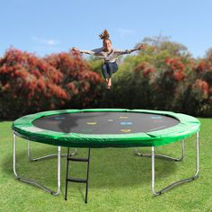 Our Oz Trampolines Round Trampoline' is the perfect mid-sized family trampoline without safety net. Designed with fun in mind, this brightly coloured, uniquely designed trampoline is perfect for hours of trampoline entertainment fun. 12ft Trampoline, Backyard Trampoline, Professional Trampoline, Trampolines, Poker Table, Outdoor Furniture, Outdoor Decor, Bright Colors, Things That Bounce