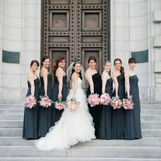 This bride married her groom at our favorite location- the US Naval Academy! She dressed up this traditional venue with bridesmaids in black