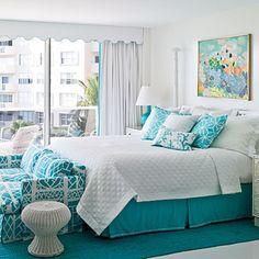 Tropical Style Bright aqua defines this guest room [ MexicanConnexionforTile.com ] #bedroom #Talavera #Mexican