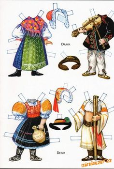 Czech paper dolls: Orava and Detva Paper Toys, Paper Crafts, Vintage Playmates, Paper Dolls Printable, Thinking Day, Vintage Paper Dolls, Doll Parts, All Paper, Retro Toys