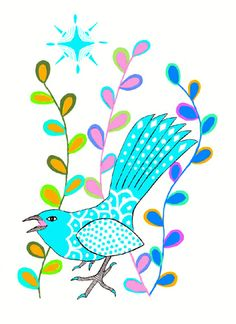 'Small Blue Bird' by Cathy Connolley. Her artwork is available from Caitlihne on Etsy. See http://www.cathyconnolley.com/