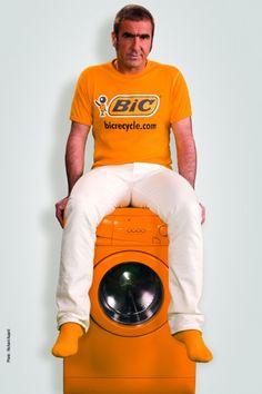 Footballer Eric Cantona, ad for BIC shaver recycling