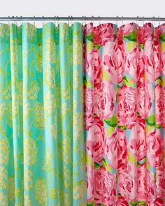 Lilly Pulitzer shower curtains.