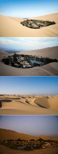This oasis is Huacachina, located in the middle of the desert near Ica, Peru.  The town is built around a small natural lake in the desert, surrounded by sand dunes.