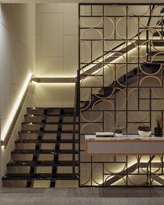 Glass Partition Designs, Living Room Partition Design, House Roof Design, Grill Door Design, Railing Design, Staircase Design, Luxury Staircase, Divider Design, Interior Decorating