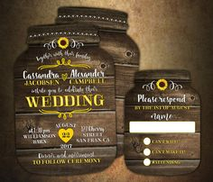 Sunflower wedding invitation, Mason Jar Wedding Invitations, Mason Jar shaped cards, Country Wedding, Set of 10 printed invitations