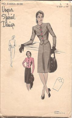 1940s Vogue Special Design Womens Suit with ZigZag by ErikawithaK, $55.00