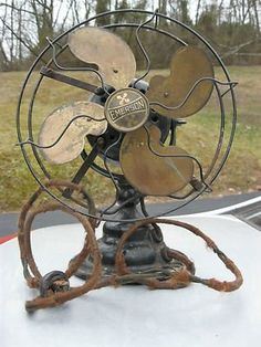 antique and vintage fans | Antique Vintage Emerson Fan MODEL 19645 S WIRE CAGE BULLWINKLE BRASS ...