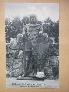 alte AK Ostpreussen. ANGERBURG  Ostpr. , Hindenburg - Denkmal Im Garten der Kind