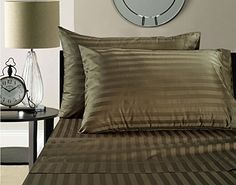 Addy Home Fashions  Egyptian Cotton 500 Thread Count Damask Stripe Sheet Set Queen  Chocolate * More info could be found at the affiliate link Amazon.com on image.