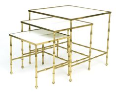 Brass Bamboo Nesting Tables | red modern furniture