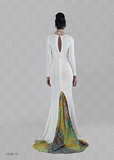 Beautiful white maxi gown (back view) by Christie Brown, fashion line out of Ghana.