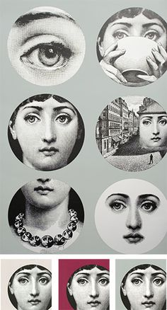 Tema E Variazioni is one of the most famous designs by Piero Fornasetti, the iconic Italian designer. This design illustrates Fornasetti's ability to draw many and various inspirations from a single motif. The muse for Tema E Variazioni was in the for Fornasetti Wallpaper, Piero Fornasetti, Images Vintage, Cole And Son, Illustrations, Belle Photo, Altered Art, Decoration, Artsy