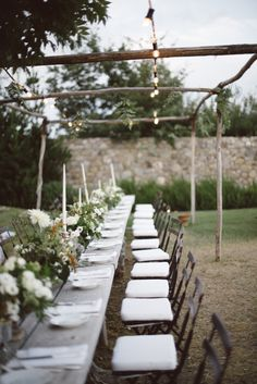 Outdoor Reception / A Tuscan Countryside Wedding by Lelia Scarfiotti Long Table Wedding, Garden Party Wedding, Wedding Reception, Tuscan Wedding, Rustic Wedding, Chic Wedding, Buy Wedding Dress Online, Outdoor Dinner Parties, Viking Wedding