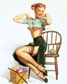 A Spicy Yarn Vintage Pinup Reproduction Giclee/' Gil Elvgren Sized 24x36 inch