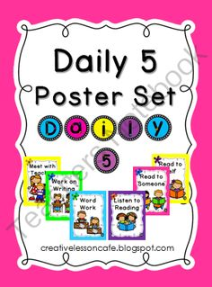 Enjoy this colorful Daily 5 poster set to brighten up your classroom bulletin boards! It coordinates with the CAFE menu set available at my shop. Download both freebies for a bold black and bright display!