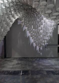 light pattern of Beautiful Ceiling Installation Made of Paper Tube
