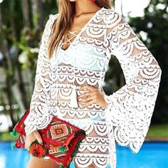 2019 New Flare Sleeve Women Lace Beach Dress Sexy V-neck Hollow Out Empire Mini Dresses Solid Color A-line Dress Cheap Dresses, Sexy Dresses, Mini Dresses, Beach Skirt, Bikini, Beachwear, Clothes For Women, Lace, Womens Fashion