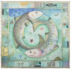 Pisces by Jane Ray Mixed Media Love the colors in this Pisces zodiac art. Pisces Star Sign, Zodiac Star Signs, Zodiac Art, Pisces Zodiac, Libra, Horoscope, Illustrations, Illustration Art, Fish Design