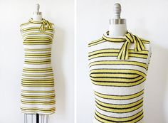 60s mod dress / 1960s striped mod scooter dress / vintage yellow, black, and white striped wiggle dress on Etsy, $125.00