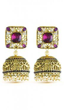 Mesmerizing classic purple stone with american diamonds bridal wear earrings. Gives you a beautiful look by wearing this earrings. Having material brass with studded stone and american diamonds. Offered with a set of earring. Jhumki Earrings, Sapphire Earrings, Stone Earrings, Purple Diamond, Pearl Cream, Diamond Design, Wedding Wear, Fashion Earrings, Bridal Jewelry