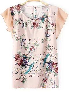 T-Shirt en mousseline cascade motif floral