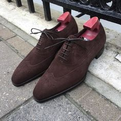 Oxford Suede Leather Shoes, Brown Wing Toe Brogue Shoes Formal Shoes Handmade - Dress/Formal