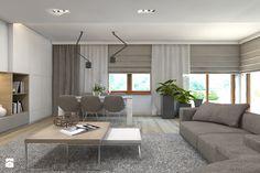 Dom jednorodzinny 7 - Duży salon z bibiloteczką z jadalnią - zdjęcie od BAGUA Pracownia Architektury Wnętrz