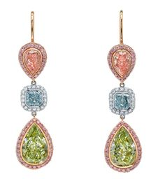 Martin Katz Jewels pink blue yellow diamond  save by Antonella B.Rossi