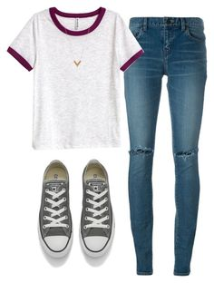 """""""Untitled #309"""" by aaisha123 ❤ liked on Polyvore featuring Yves Saint Laurent, H&M, Converse and Louis Vuitton"""